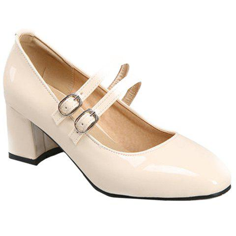 Stylish Patent Leather and Double Buckle Design Women's Pumps - BEIGE 35