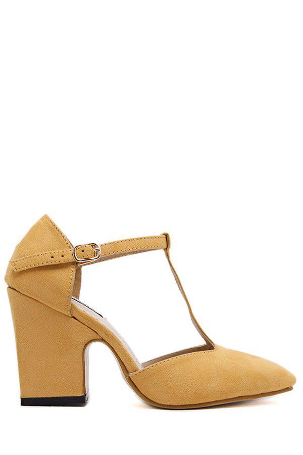 Elegant T-Strap and Chunky Heel Design Pumps For Women