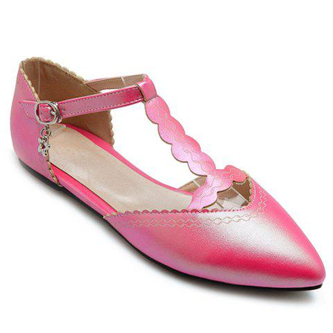 Sweet T-Strap and Pointed Toe Design Flat Shoes For Women