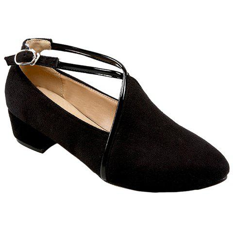 Fashionable Suede and Pointed Toe Design Women's Pumps - BLACK 39