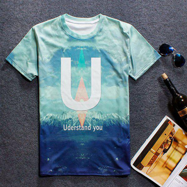 Round Neck  Letters Print 3D Jokul Pattern Short Sleeve Men's T-Shirt - COLORMIX XL