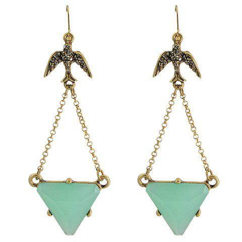 Pair of Stylish Triangle Faux Gem Earrings For Women - GOLDEN