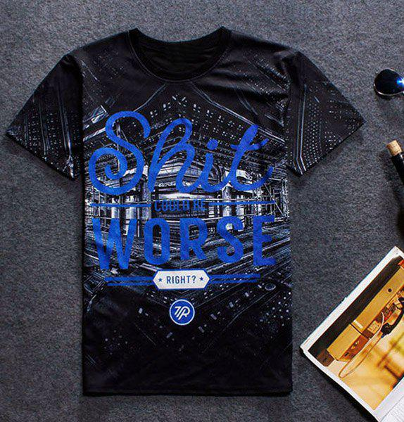 Modish Round Neck Letters Print 3D Building Pattern Short Sleeve Men's T-Shirt - BLACK L
