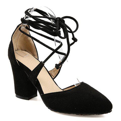 Trendy Chunky Heel and Lace-Up Design Women's Pumps - BLACK 38