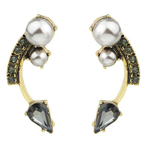 Pair of Stylish Faux Pearl Decorated Arc Shape Earrings For Women -  GOLDEN