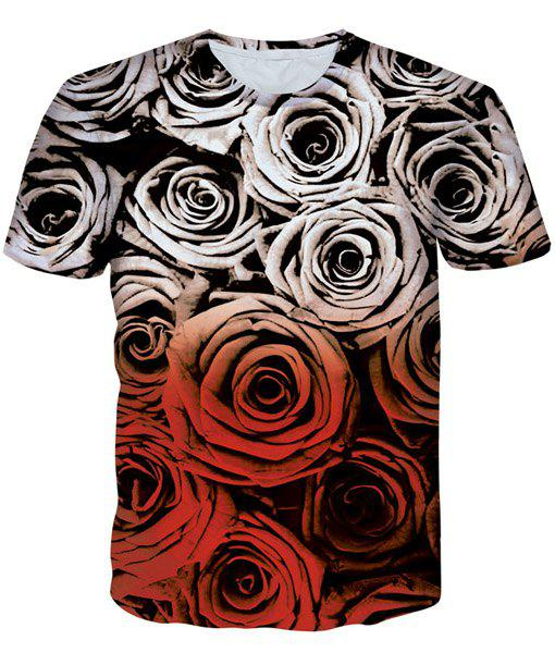 Modish Round Neck 3D Roses Pattern Print Short Sleeve Men's T-Shirt - COLORMIX M