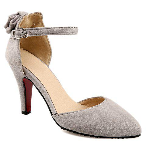 Trendy Bow and Two-Piece Design Women's Pumps - LIGHT GRAY 39