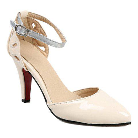 Stylish Two-Piece and Hollow Out Design Women's Pumps - BEIGE 39