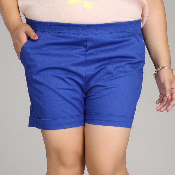 Casual Women's Solid Color Plus Size Shorts - SAPPHIRE BLUE L
