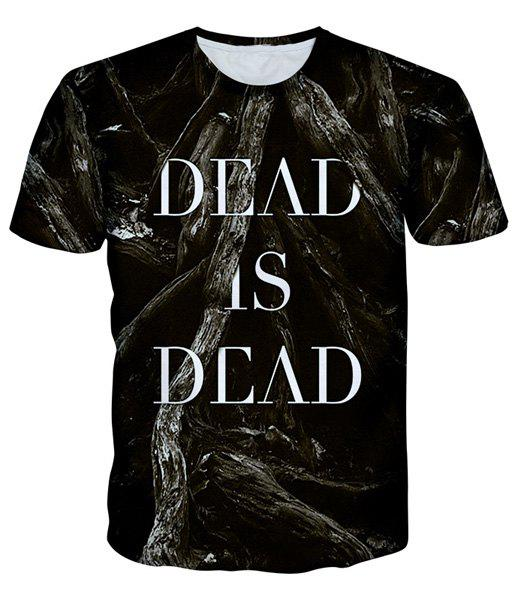 Round Neck Letters Print 3D Timbo Pattern Short Sleeve Men's T-Shirt