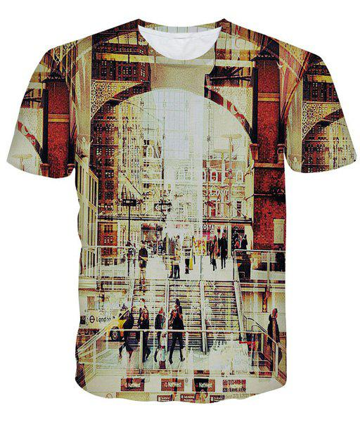 Modish Round Neck 3D Streetscape Pattern Short Sleeve Men's T-Shirt - COLORMIX XL