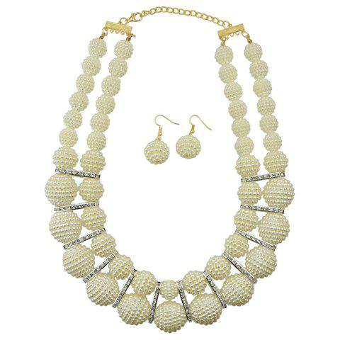 A Suit of Trendy Faux Pearl Necklace and Earrings For Women - WHITE