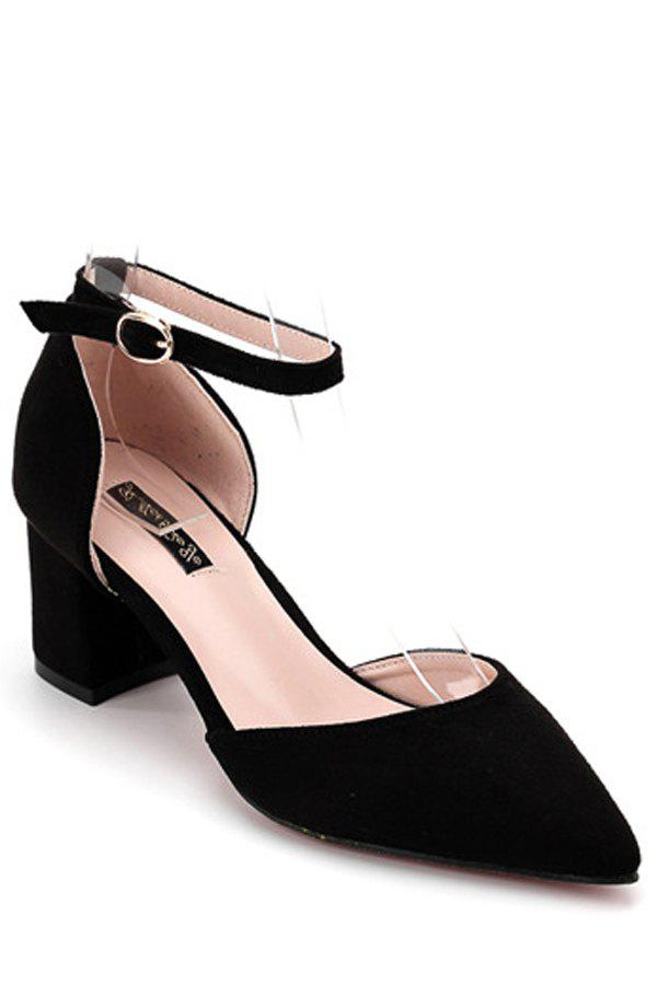Stylish Flock and Chunky Heel Design Pumps For Women