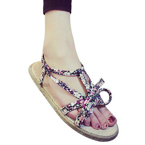 Casual Flat Heel and Tiny Floral Print Design Women's Sandals - PINK 36