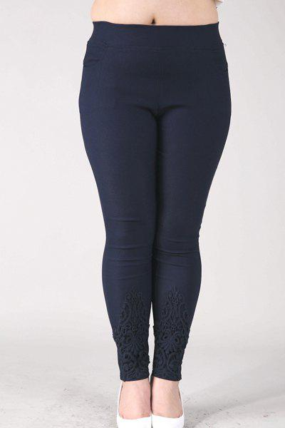 Casual Women's High-Waisted Lace Embellished Plus Size Pants - NAVY BLUE 2XL