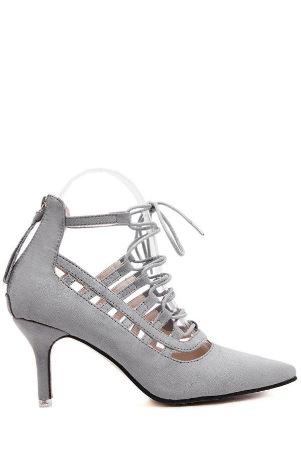 Roman Style Lace-Up and Pointed Toe Design Pumps For Women - GRAY 37