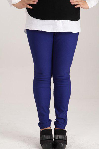 Fashionable Women's High-Waisted Plus Size Pants - DEEP BLUE 4XL
