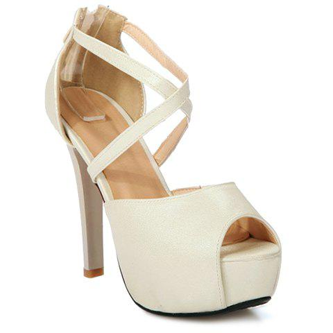 Fashionable Zipper and Cross Straps Design Women's Sandals - OFF WHITE 34