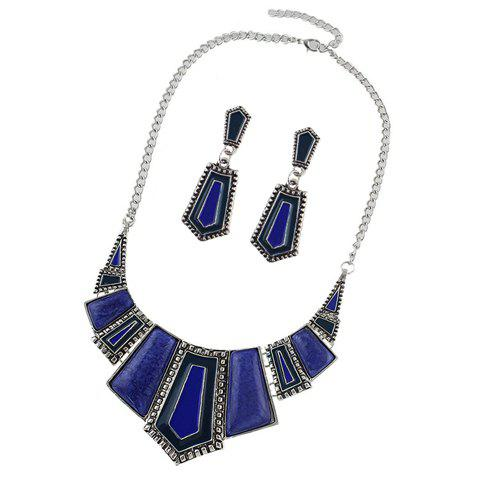 A Suit of Geometric Faux Crystal Necklace and Earrings - BLUE
