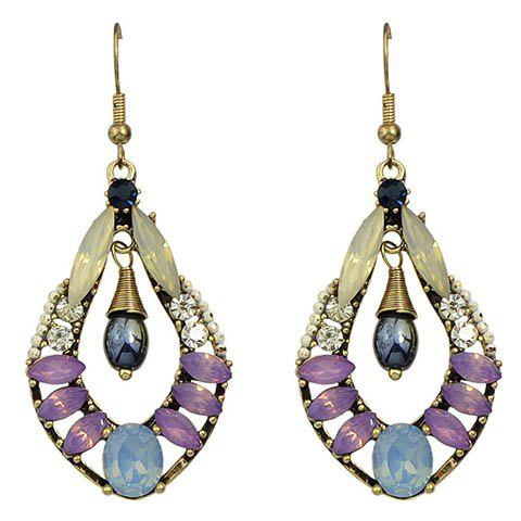Pair of Chic Rhinestone Faux Crystal Water Drop Earrings For Women