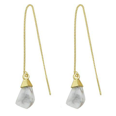 Pair of Geometric Faux Gem Drop EarringsJewelry<br><br><br>Color: WHITE