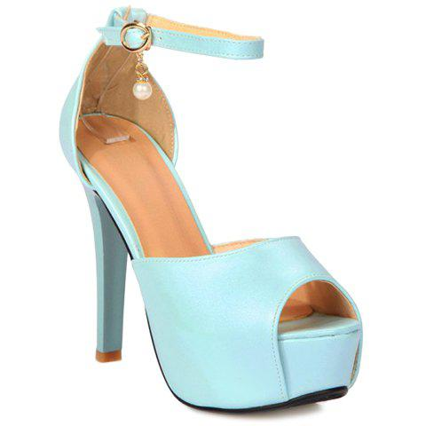 Stylish Faux Pearl and Ankle Strap Design Women's Sandals - LIGHT BLUE 38