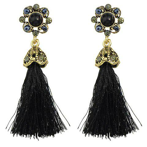 Pair of Charming Floral Hollow Out Tassel Earrings For Women - BLACK