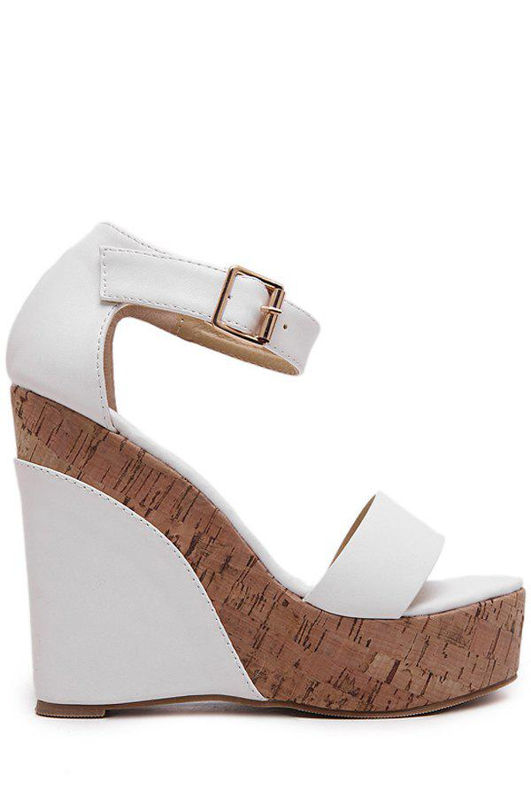 Trendy Ankle Strap and Wedge Heel Design Sandals For Women - WHITE 35
