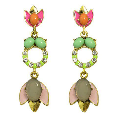 Rhinestone Floral Rose Earrings - GREEN