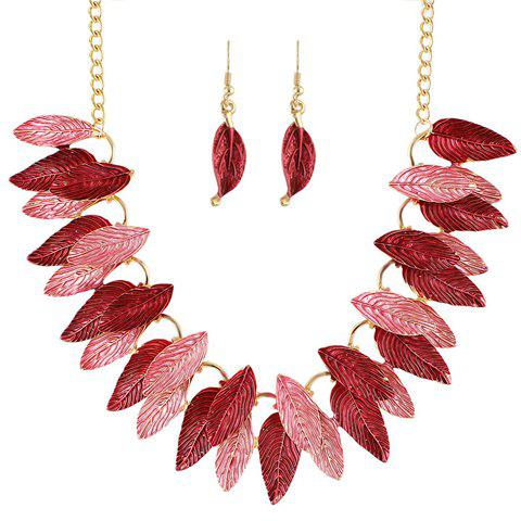 A Suit of Stylish Two-Layered Matte Leaf Necklace and Earrings For Women