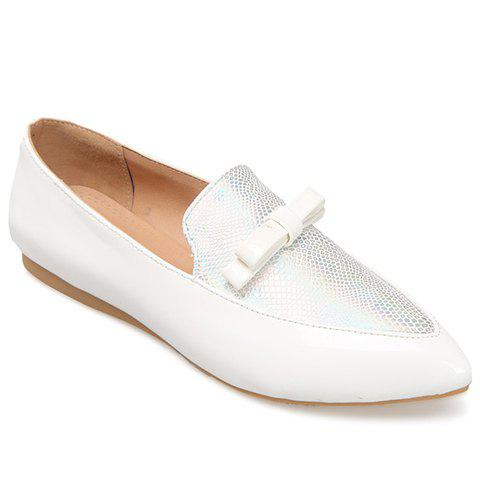 Casual Colour Block and Bow Design Women's Flat Shoes - WHITE 39