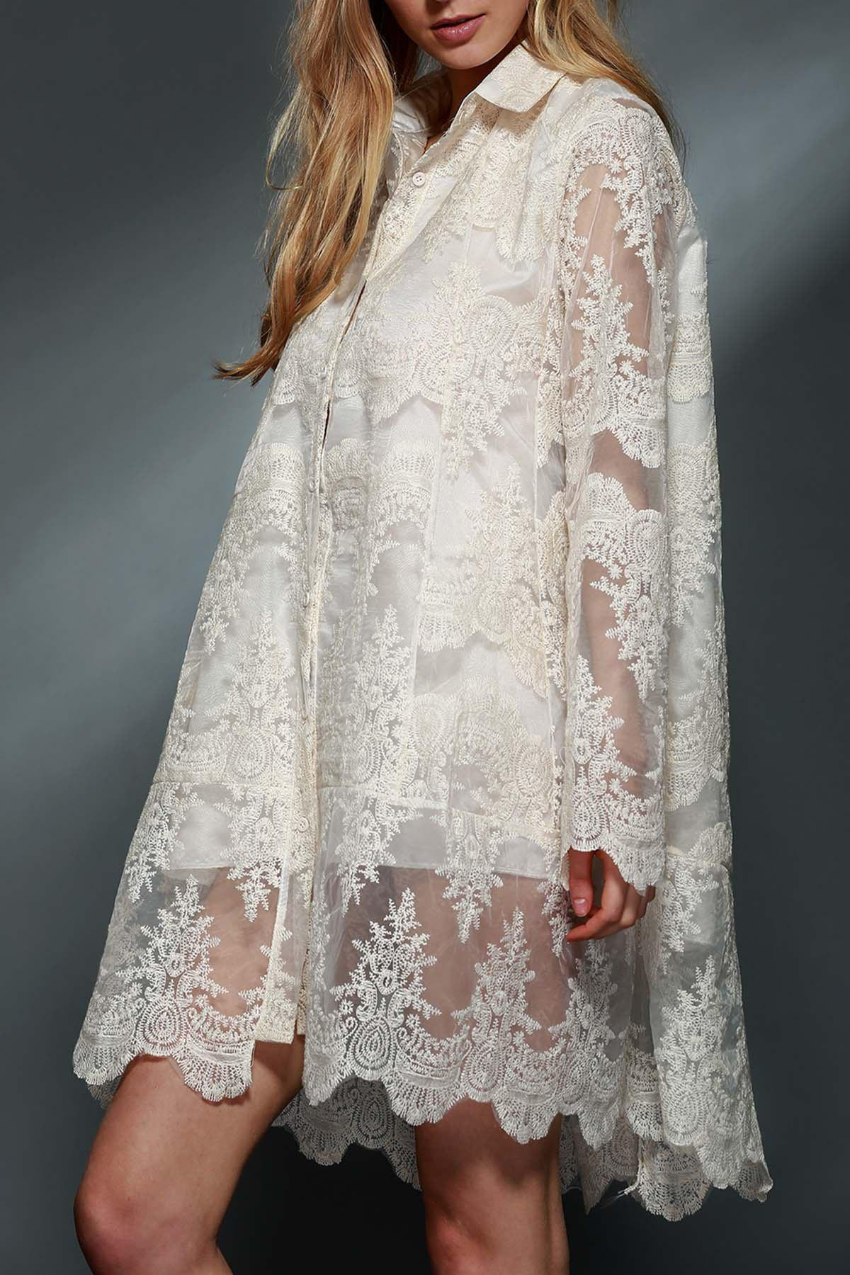 Ladylike Women's Polo Collar See-Through Long Sleeve Lace Dress - WHITE S