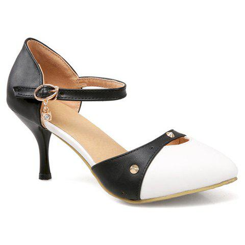 Fashionable PU Leather and Color Block Design Pumps For Women - BLACK 36