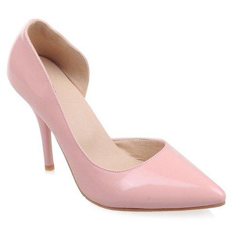 Elegant Patent Leather and Pointed Toe Design Pumps For Women - PINK 38