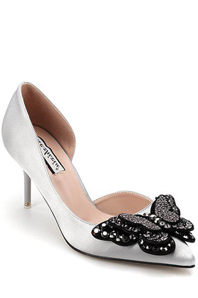 Elegant Butterfly and Rhinestone Design Pumps For Women - GRAY 38