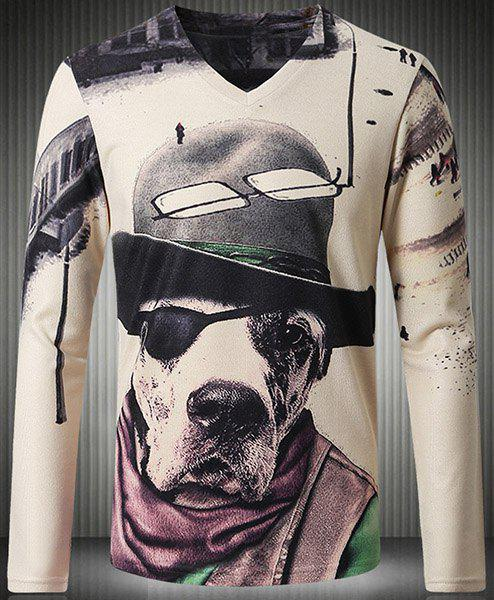 Personality V-Neck 3D Dog Pattern Long Sleeve Men's T-Shirt - COLORMIX 2XL