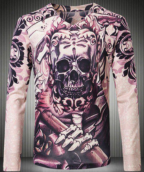 Personality V-Neck 3D Skull Pattern Floral Print Long Sleeve Men's T-Shirt - COLORMIX 4XL