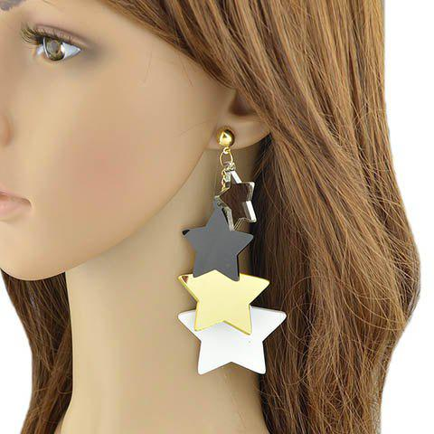 Pair of Alloy Pentagram Earrings - GOLDEN