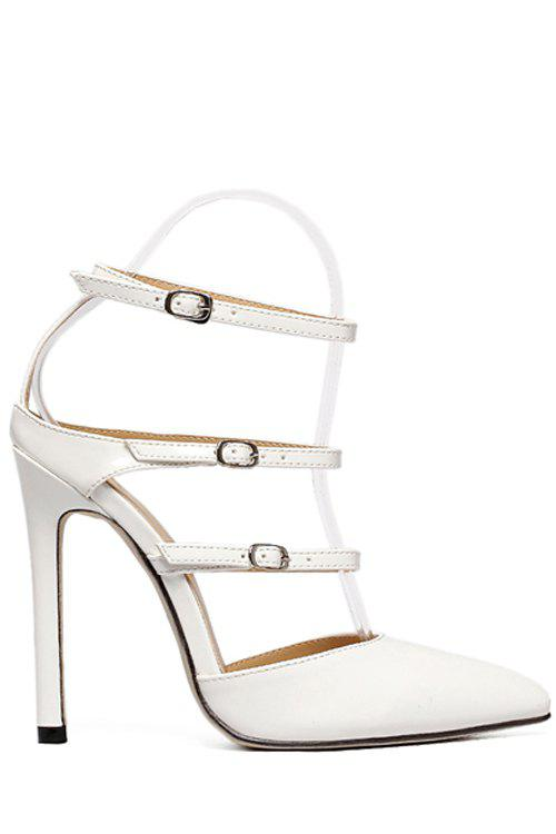 Stylish Buckles and Pointed Toe Design Sandals For Women - WHITE 37