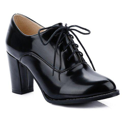 Simple Lace-Up and Chunky Heeled Design Pumps For Women - 34 BLACK