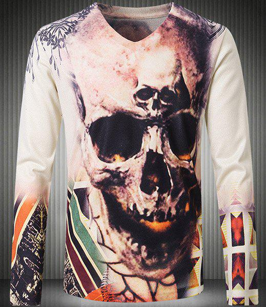 Personality V-Neck 3D Skull Pattern Long Sleeve Men's T-Shirt - COLORMIX 3XL