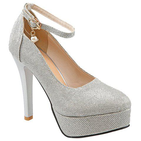 Trendy Ankle Strap and Platform Design Women's Pumps - SILVER 39