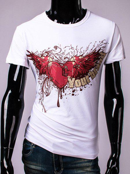 3D Bleeding Heart and Wings Print Round Neck Short Sleeve Men's T-Shirt - WHITE L