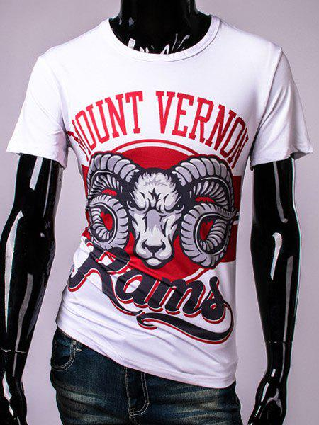 3D Goat and Letters Print Round Neck Short Sleeve Men's T-Shirt