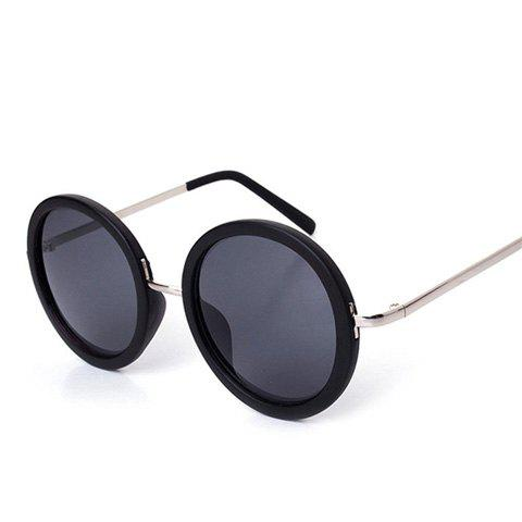 Chic Black Round Frame and Silver Leg Design Women's Sunglasses - BLACK