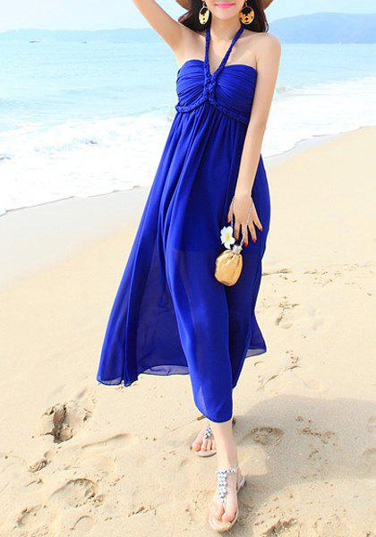 Bohemian Halter Sleeveless Solid Color Women's Chiffon Dress - SAPPHIRE BLUE ONE SIZE(FIT SIZE XS TO M)