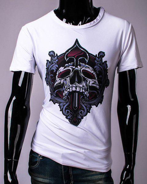 3D Floral and Skull Print Round Neck Short Sleeve Men's T-Shirt - WHITE M