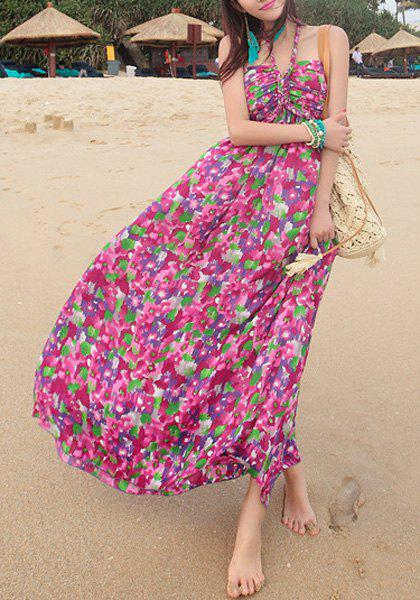 Bohemian Style Halter Sleeveless Floral Print Women's Chiffon Dress - PURPLISH RED ONE SIZE(FIT SIZE XS TO M)