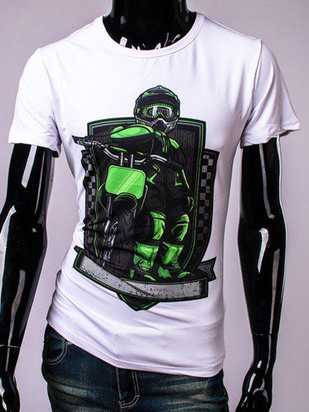 3D Motorcycle Bikers Print Round Neck Short Sleeve Men's T-Shirt - WHITE M