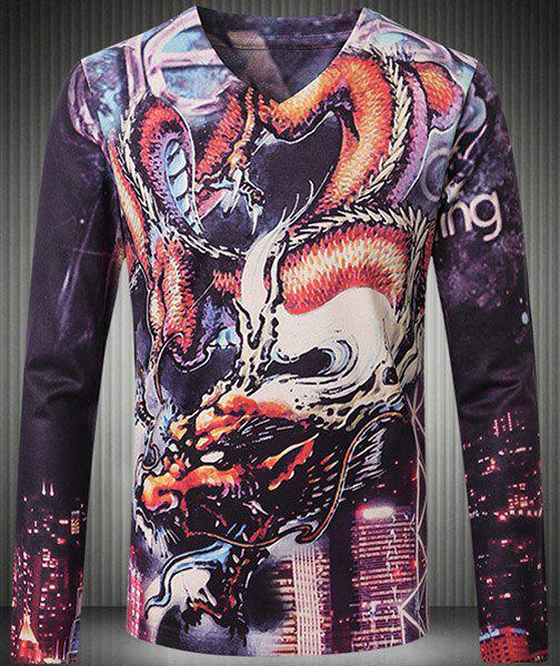 Extraordinary V-Neck 3D Dragon Pattern Print Long Sleeve Men's T-Shirt - COLORMIX 5XL